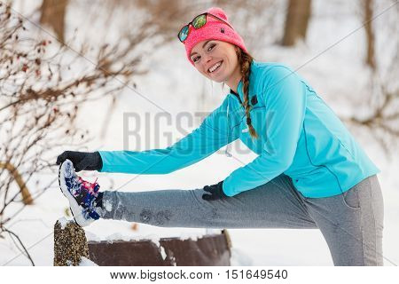 Girl Exercising On Bench