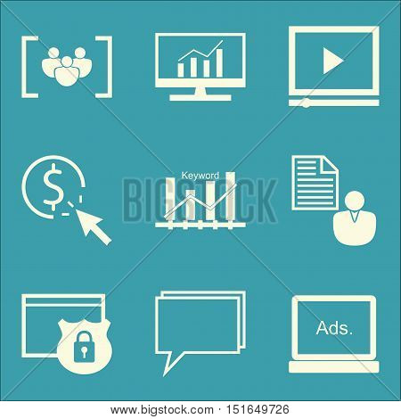 Set Of Seo, Marketing And Advertising Icons On Video Advertising, Keyword Ranking, Online Consulting