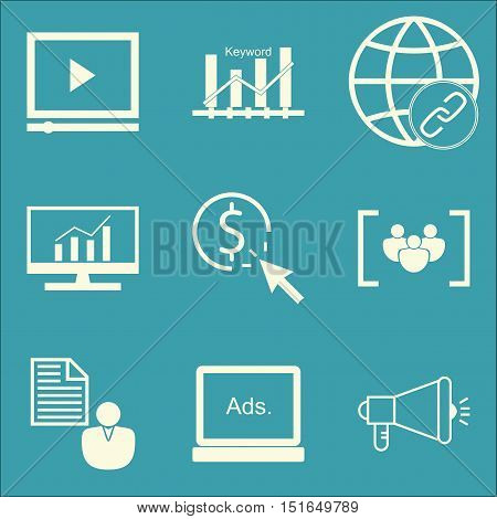 Set Of Seo, Marketing And Advertising Icons On Viral Marketing, Video Advertising, Keyword Ranking A