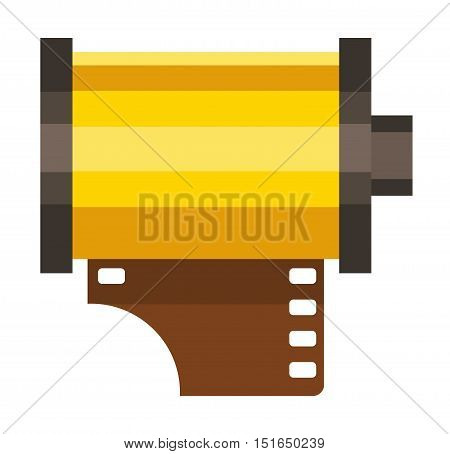 Camera film roll movie cinema negative and films photo film in cartridge. Camera film rolls strip photography. Filmstrip photograph equipment.