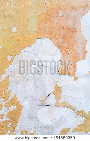 Concrete, Weathered, Worn, Damaged Wall Paint. Rough, Concrete Surface With Cracks And Scratches. Gr
