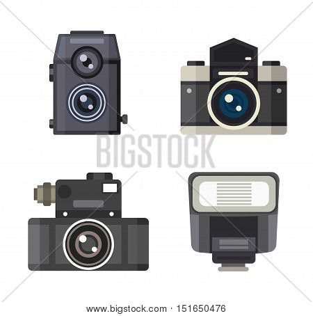 Photo camera vector. Camera photography isolated symbol photograph digital equipment. Retro technology camera vintage element sign film.