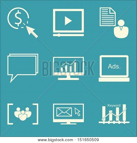 Set Of Seo, Marketing And Advertising Icons On Video Advertising, Focus Group, Online Consulting And