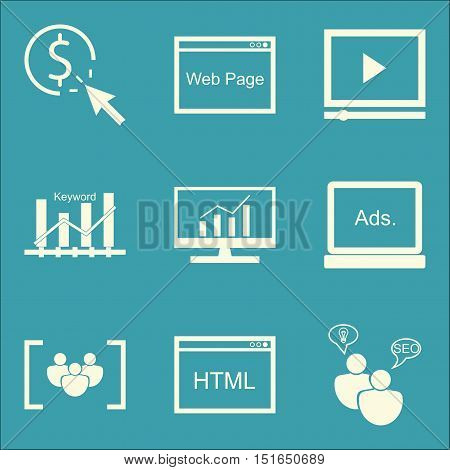 Set Of Seo, Marketing And Advertising Icons On Video Advertising, Keyword Ranking, Seo Consulting An