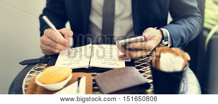 Cropped Businessman Writing Notes Journal Concept poster