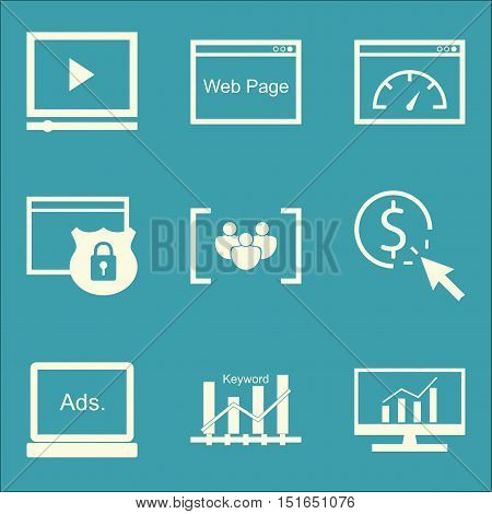Set Of Seo, Marketing And Advertising Icons On Web Page, Video Advertising, Page Speed And More. Pre