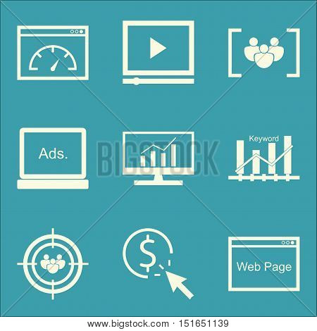 Set Of Seo, Marketing And Advertising Icons On Page Speed, Pay Per Click, Video Advertising And More