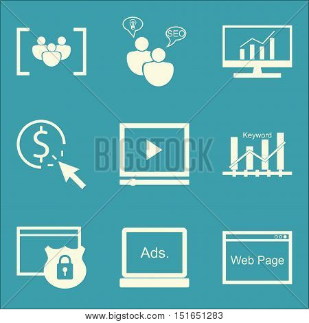 Set Of Seo, Marketing And Advertising Icons On Video Advertising, Keyword Ranking, Website Protectio