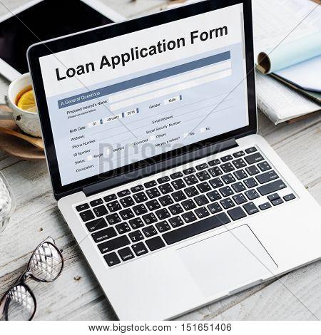Loan Financial Application Form Concept