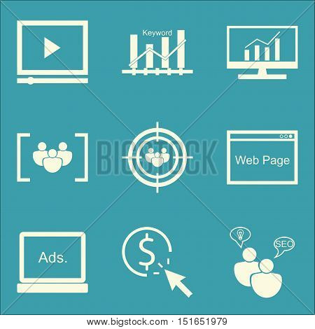 Set Of Seo, Marketing And Advertising Icons On Seo Consulting, Web Page, Video Advertising And More.