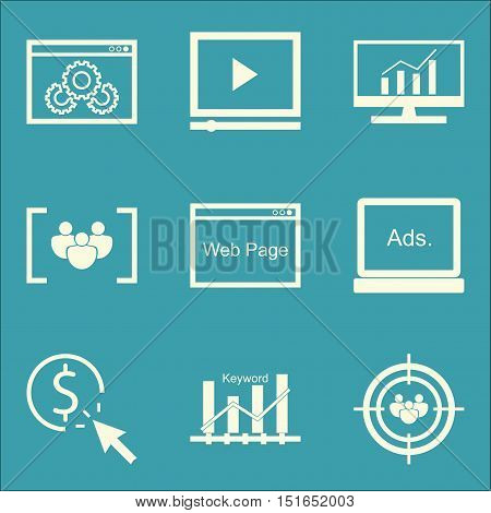 Set Of Seo, Marketing And Advertising Icons On Video Advertising, Audience Targeting, Focus Group An