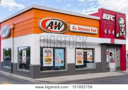 A&w And Kfc Restaurant Exterior And  Logos.