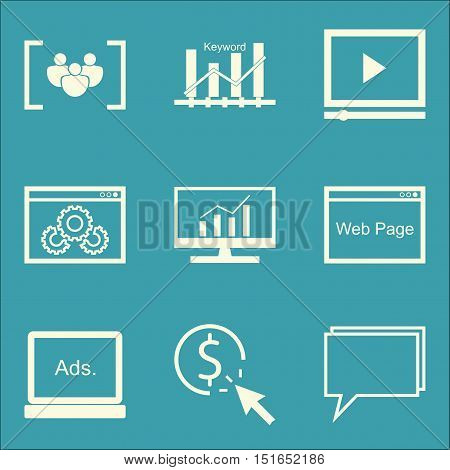 Set Of Seo, Marketing And Advertising Icons On Display Advertising, Online Consulting, Video Adverti