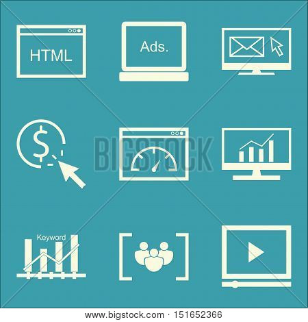 Set Of Seo, Marketing And Advertising Icons On Focus Group, Page Speed, Video Advertising And More.