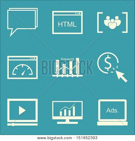 Set Of Seo, Marketing And Advertising Icons On Online Consulting, Display Advertising, Video Adverti