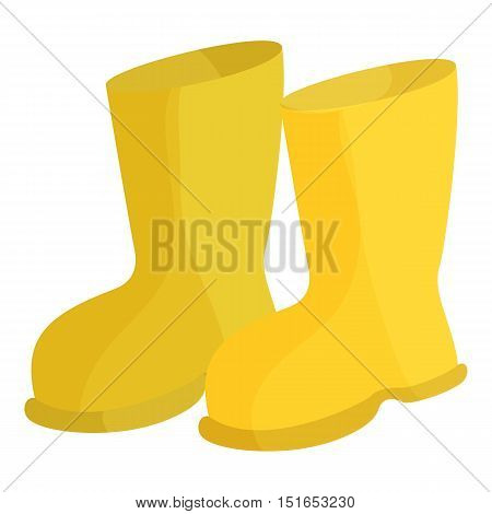Yellow rubber boots icon. Cartoon illustration of rubber boots vector icon for web
