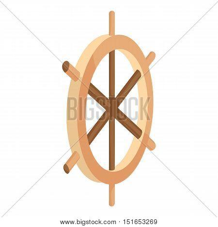 Wooden ship wheel icon. Cartoon illustration of ship wheel vector icon for web