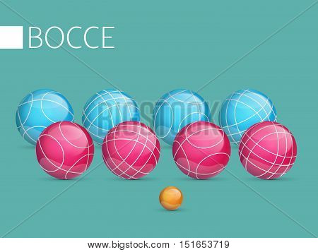 Set of colored balls isolated on a blue background.