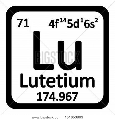 Periodic table element lutetium icon on white background. Vector illustration.
