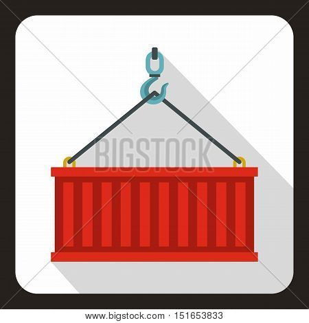 Crane hook lifts red container icon. Flat illustration of crane hook lifts red container vector icon for web