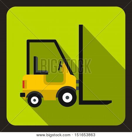 Yellow stacker loader icon. Flat illustration of stacker loader vector icon for web