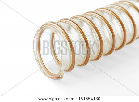 Transparent Suction Blower Hose with armour on white background