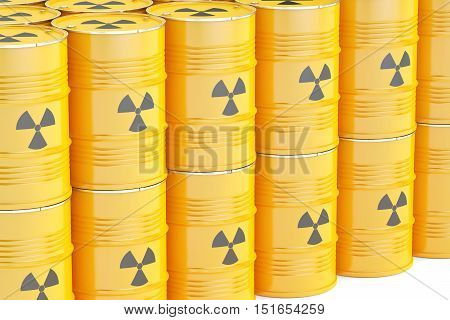 barrels with radioactive waste 3D rendering isolated on white background