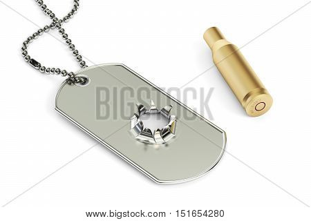 Dog tag with hole from bullet 3D rendering. War concept