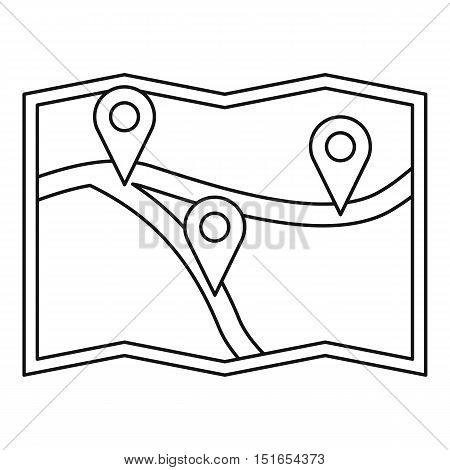 Map with gps pointers icon. Outline illustration of map with gps pointers vector icon for web
