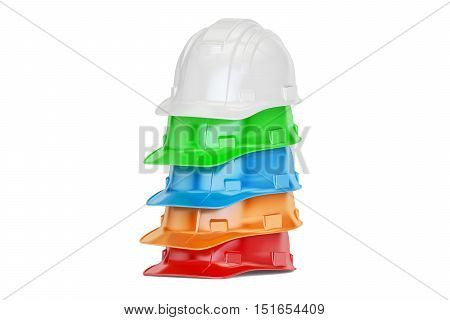 Set of colored hardhats 3D rendering isolated on white background
