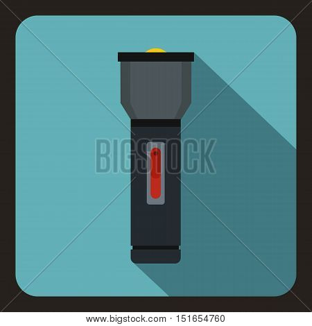 Black flashlight icon. Flat illustration of flashlight vector icon for web