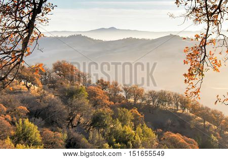 Northern California Fall of Misty Mountains. Shot from Joseph D. Grant County Park, San Jose, California, USA.