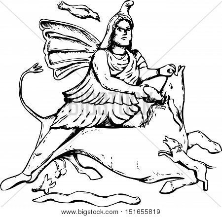 Outline Drawing Of Mithras Slaying A Black Bull