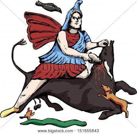 Illustration Of Mithras Slaying A Black Bull