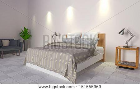 Loft and modern bedroom interior-3D rendering image