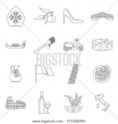 Italia icons set. Outline illustration of 16 Italia vector icons for web