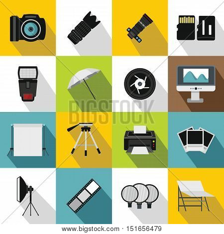 Photo studio icons set. Flat illustration of 16 photo studio vector icons for web