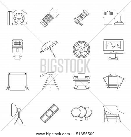Photo studio icons set. Outline illustration of 16 photo studio vector icons for web