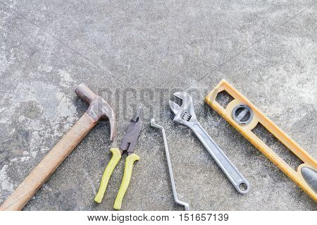 Set of tools Working tools grungy background image with copy space