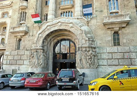 BUDAPEST HUNGARY - SEPTEMBER 28 2016: Entrance to the thermal bath Gellért. Architectural style Art Nouveau