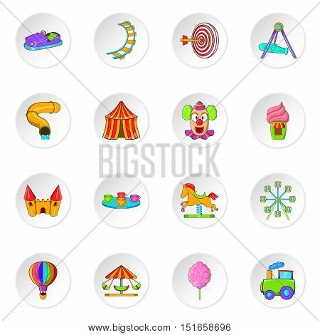 Amusement park icons set. Cartoon illustration of 16 amusement park vector icons for web