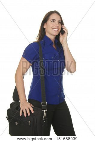 Beautiful Brunette Business Woman in her Late Thirties on a White Background.  She is on a phone and holding a laptop computer in a bag