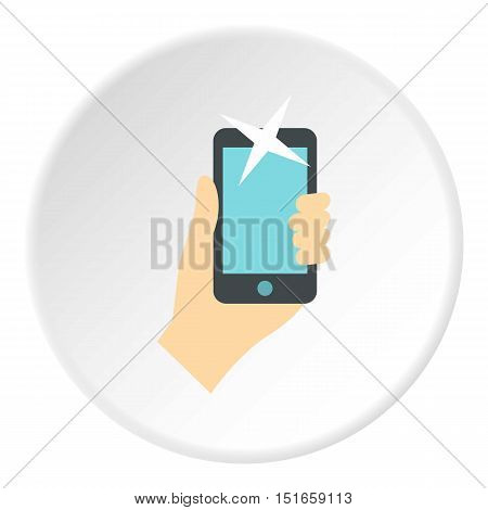 Hand taking selfie photo icon. Flat illustration of phone vector icon for web design