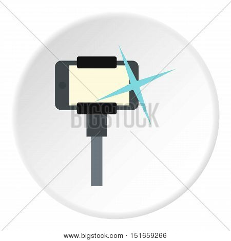 Selfie stick monopod icon. Flat illustration of phone vector icon for web design