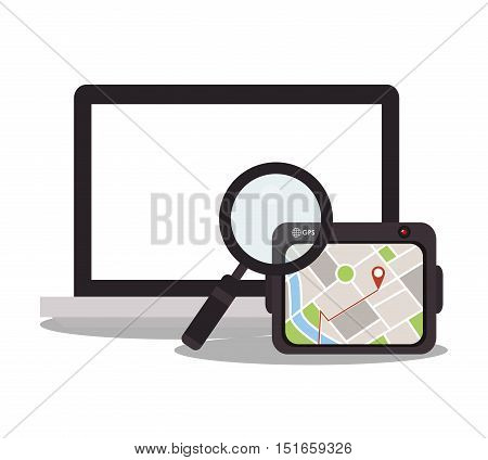 Laptop lupe and tablet icon. Digital marketing ecommerce shopping online and media theme. Colorful design. Vector illustration