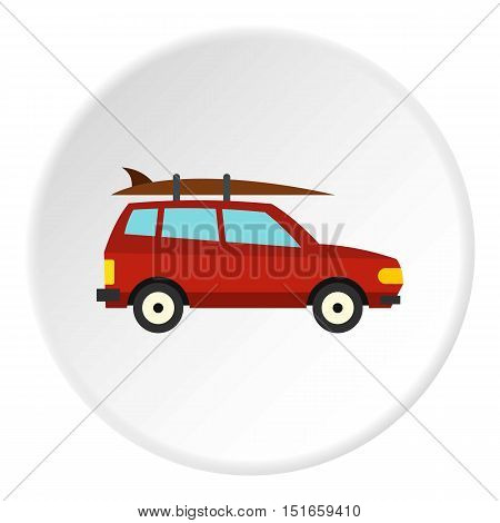 Surfboard car icon. Flat illustration of car vector icon for web design