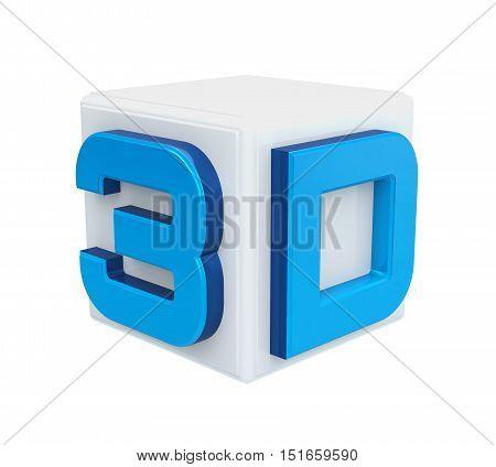 3D Cinema Logo isolated on white background. 3D render