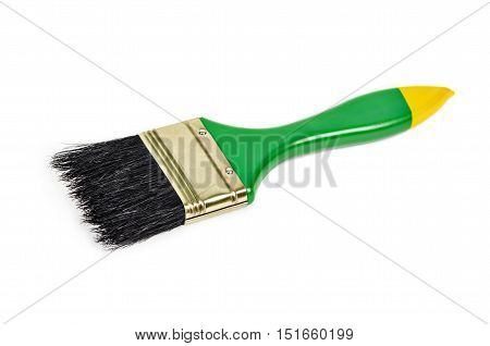 The Green paintbrush isolated on white background. poster