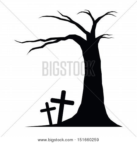 icon Tree and graves of halloween vector ESP10