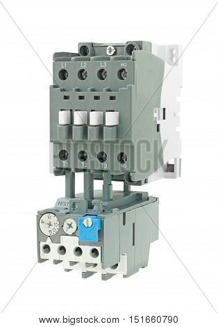 Electrical Overload Relay and Magnetic Contactor isolated on white background